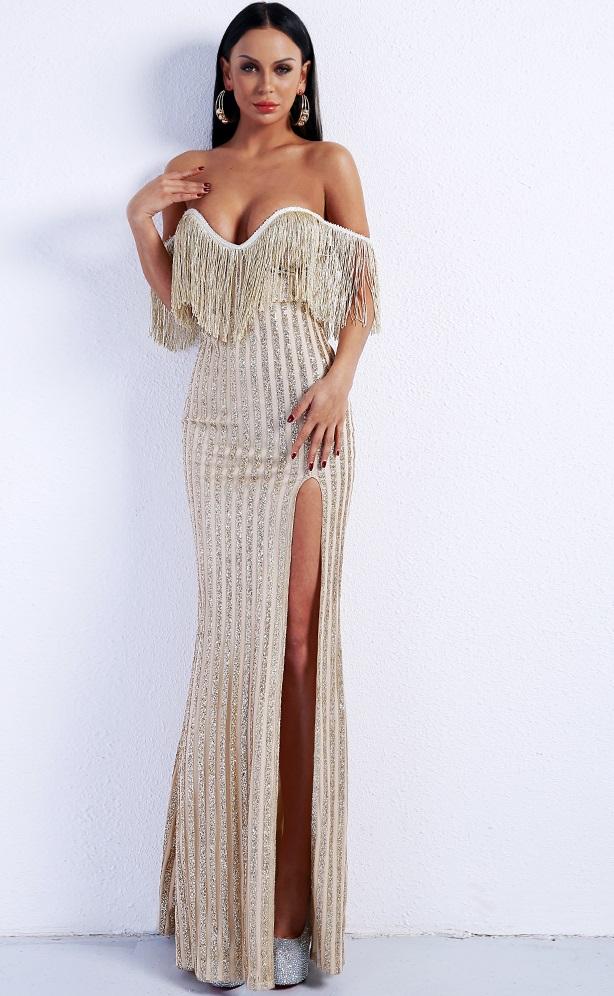 Buy gold fringe glitter dress For Women