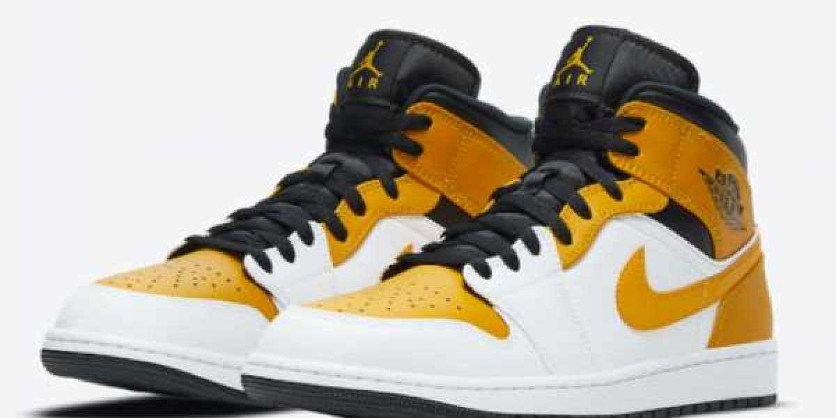 "2020 Air Jordan 1 Mid ""University Gold"" Sneakers 554724-170"