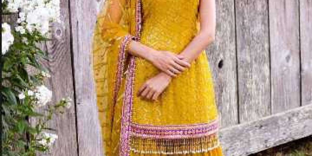 Buy Yellow Sequins Georgette Party Wear Sharara Suit With Dupatta Online from EthnicPlus for ₹2,399.00