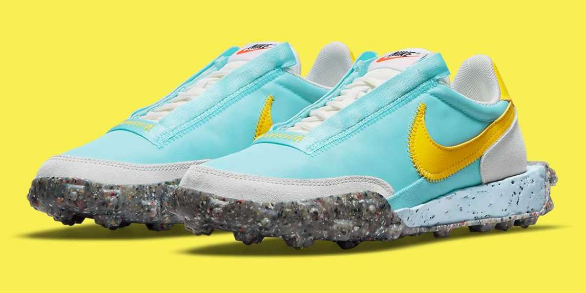 """2021 Nike Waffle Racer Crater """"Bleached Aqua/Sail/Photon Dust/Speed Yellow"""" CT1983-400"""
